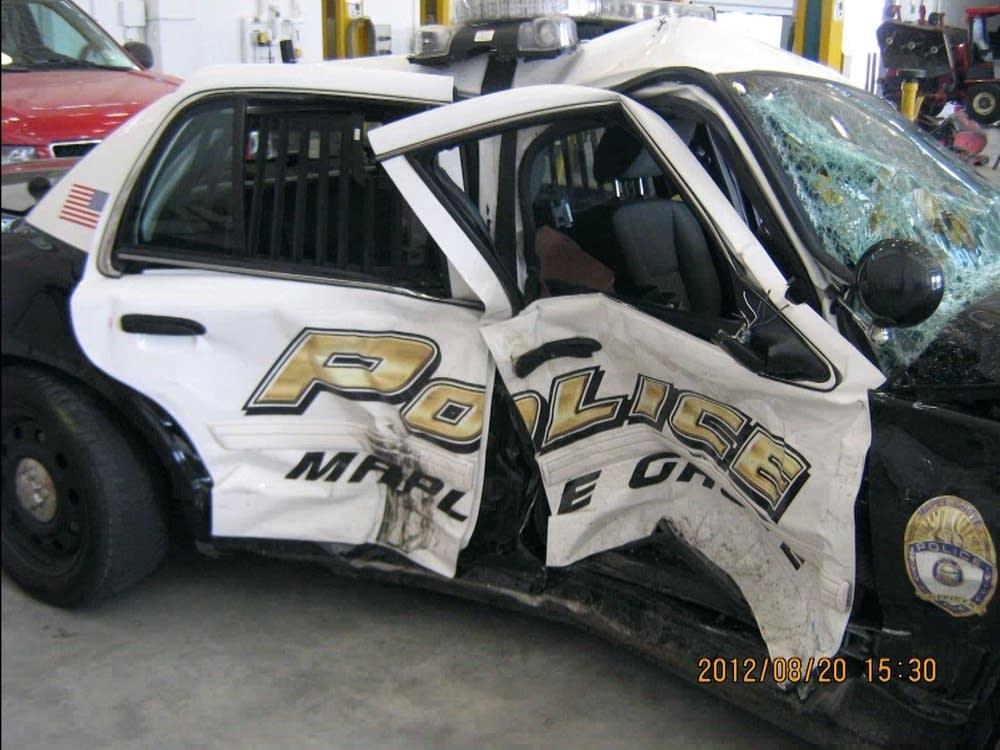 Squad car after crash
