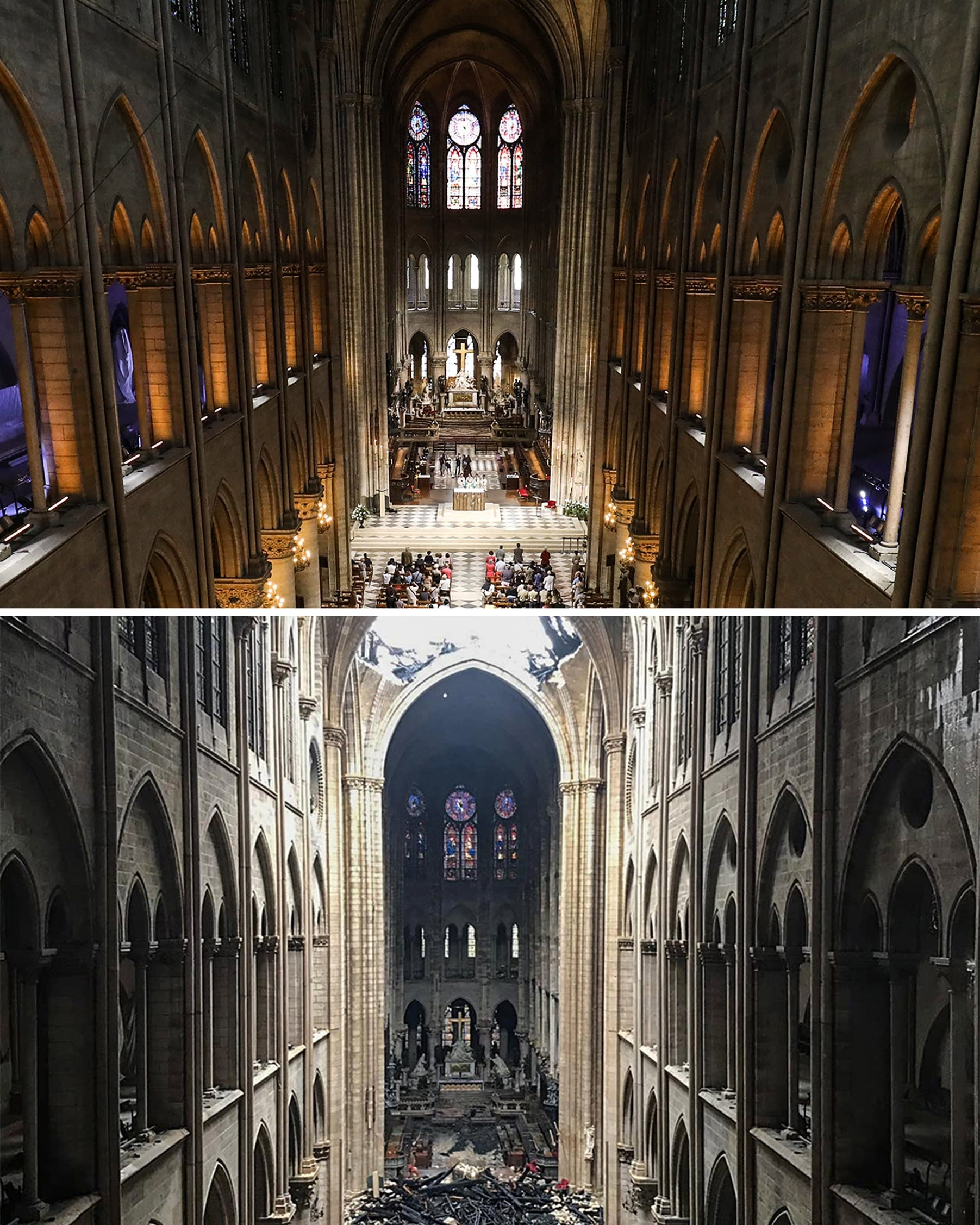 Notre Dame in Paris on Tuesday (down), and on June 26, 2018 (up).