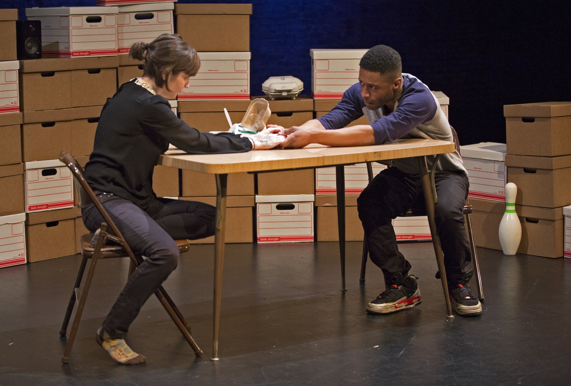 Brianna Patnode and Kory LaQuess Pullam rehearse a scene.