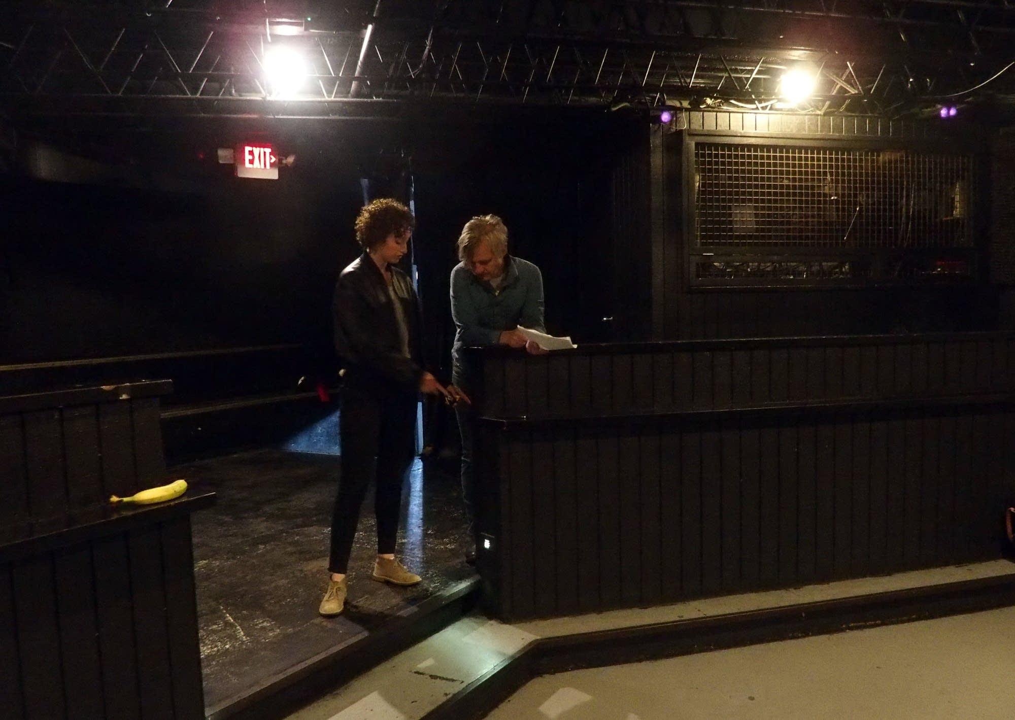 Chris Larson and Jordan Rosenow measure a step.