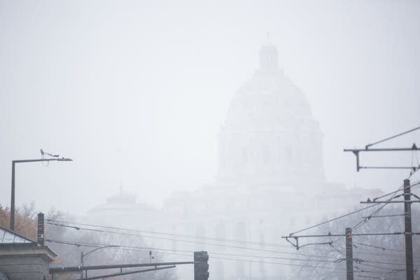 The Minnesota Capitol building in the snow