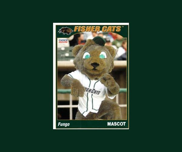 A 2003(ish) baseball card featuring Fungo, the NH Fisher Cats Mascot