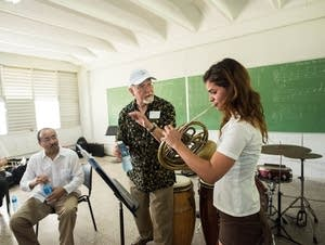 French horn player Herb Winslow and student