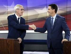 Democrat Tony Evers, left, and Wisconsin Gov. Scott Walker, a Republican