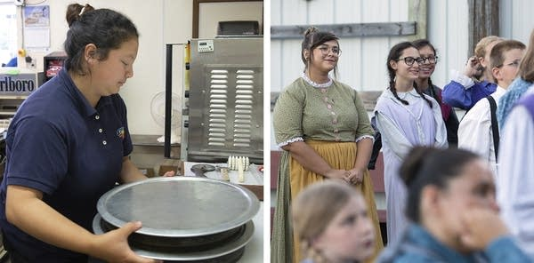 At left, a girl holds pizza pans. At right, people wear in pioneer clothes