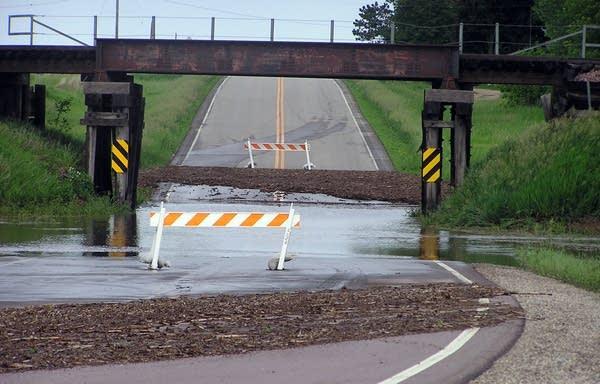 Flooding closed a road southwest of Worthington.