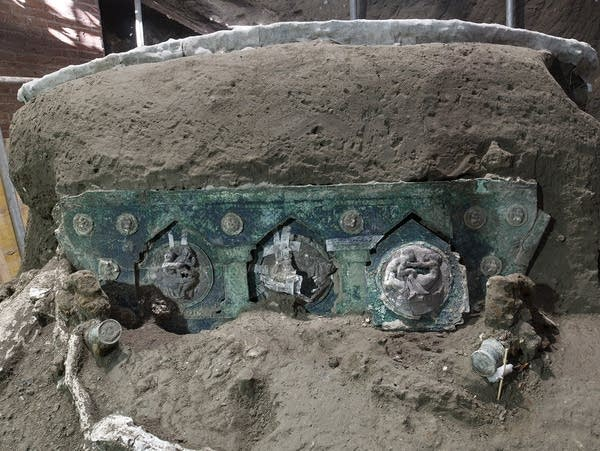 A ceremonial chariot found at an archaeological site