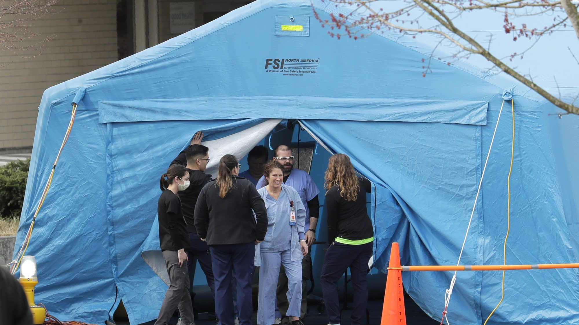 Large tent at emergency room at EvergreenHealth Medical Center