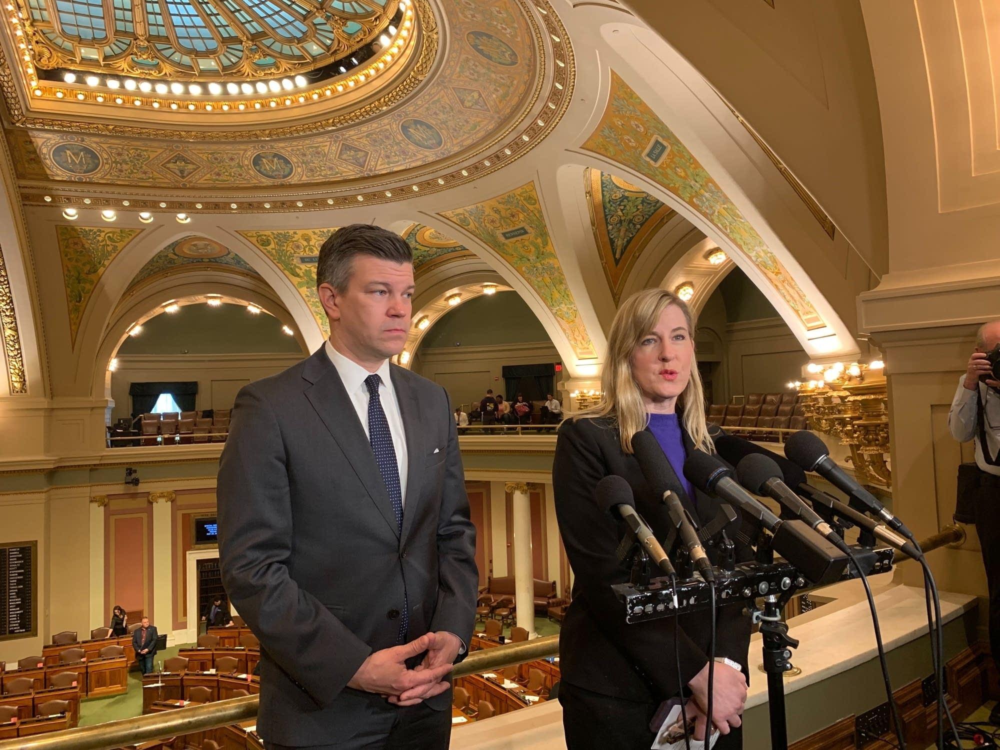 DFL House Majority Leader Ryan Winkler and House Speaker Melissa Hortman