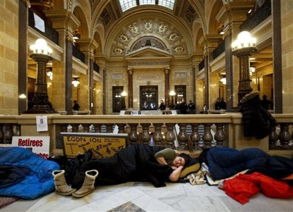 Sleeping in Wisconsin Capitol