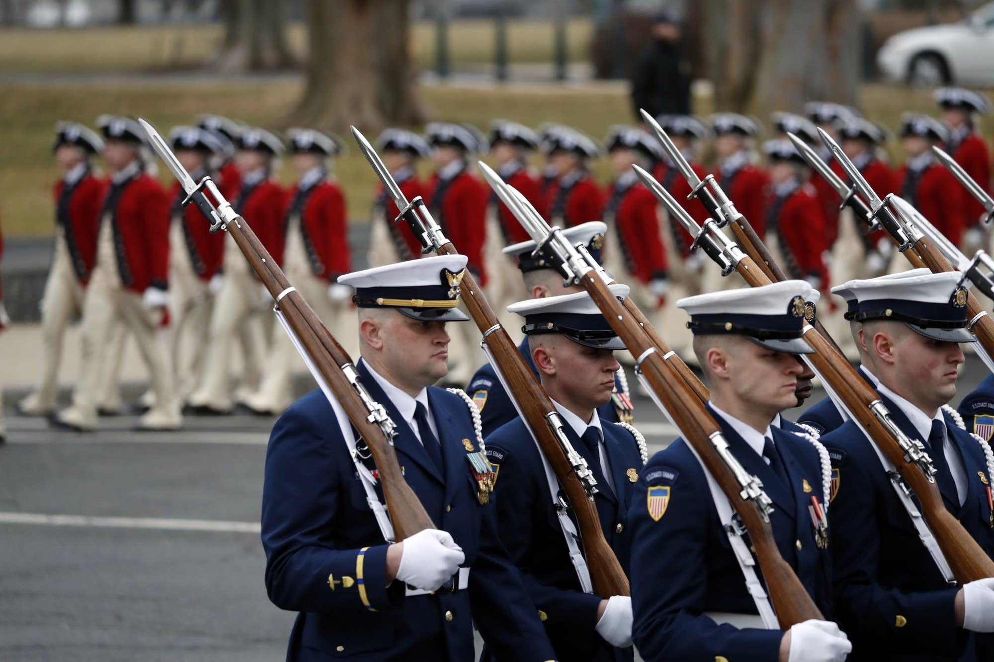 Military units march in the inaugural parade