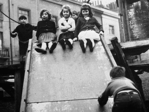"""Jackie, Lynne and Sue, at a playground in 1964 in the first film in """"7 Up."""""""