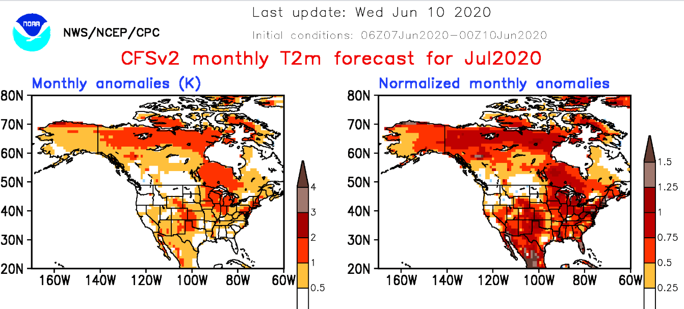 NOAA CFS2 temperature outlook for July 2020
