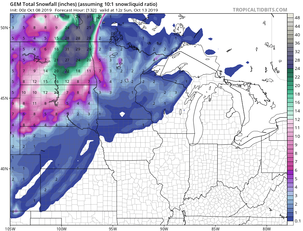 Canadian model snowfall potential by Sunday morning
