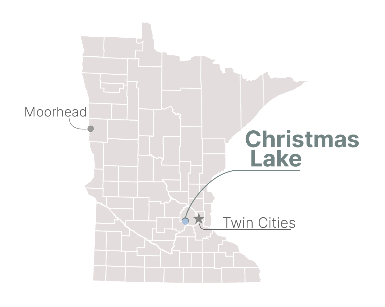A locator map of Christmas Lake in Chanhassen, Minn.