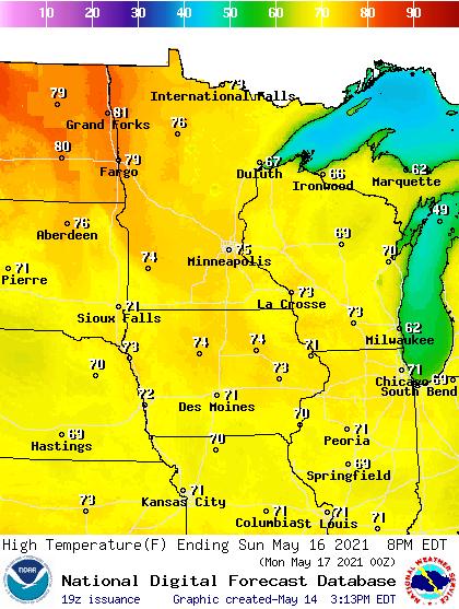 Forecast high temperatures Sunday