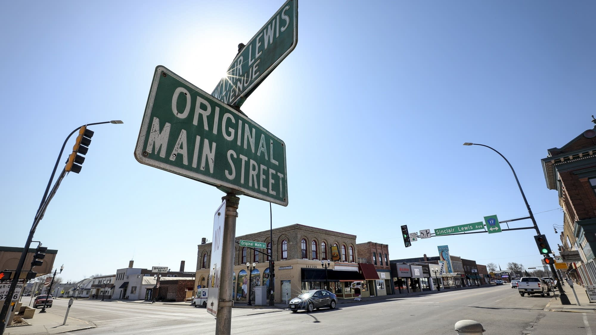 The corner of Sinclair Lewis Avenue and Main Street