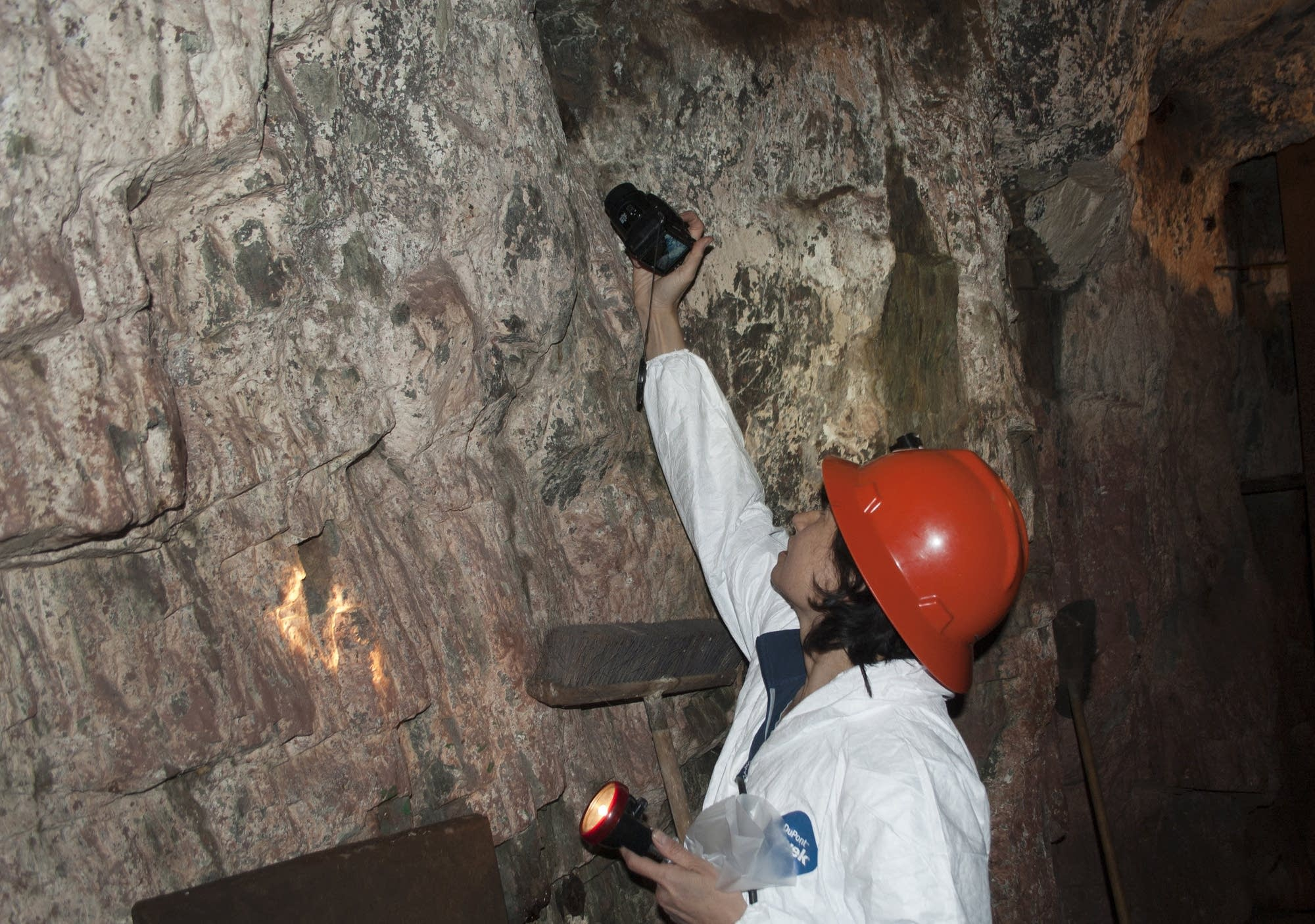Christine Salomon photographs bats on a wall in the Soudan Mine.
