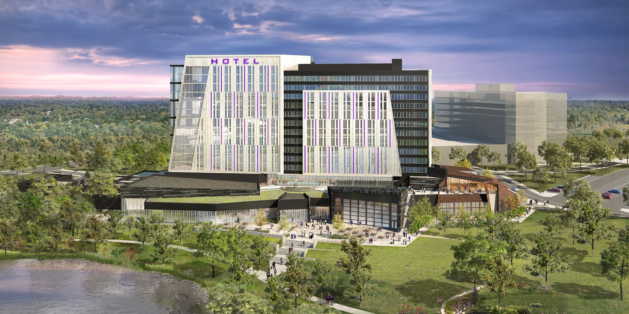 Rendering of the planned hotel and conference center.