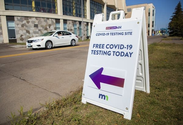 """A sign reads """"Free COVID-19 testing today"""""""