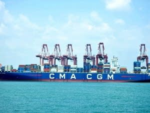 A cargo ship is seen at a port in Qingdao.