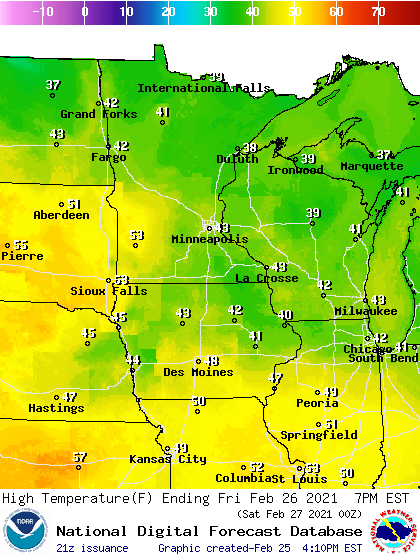 Forecast high temperatures Friday