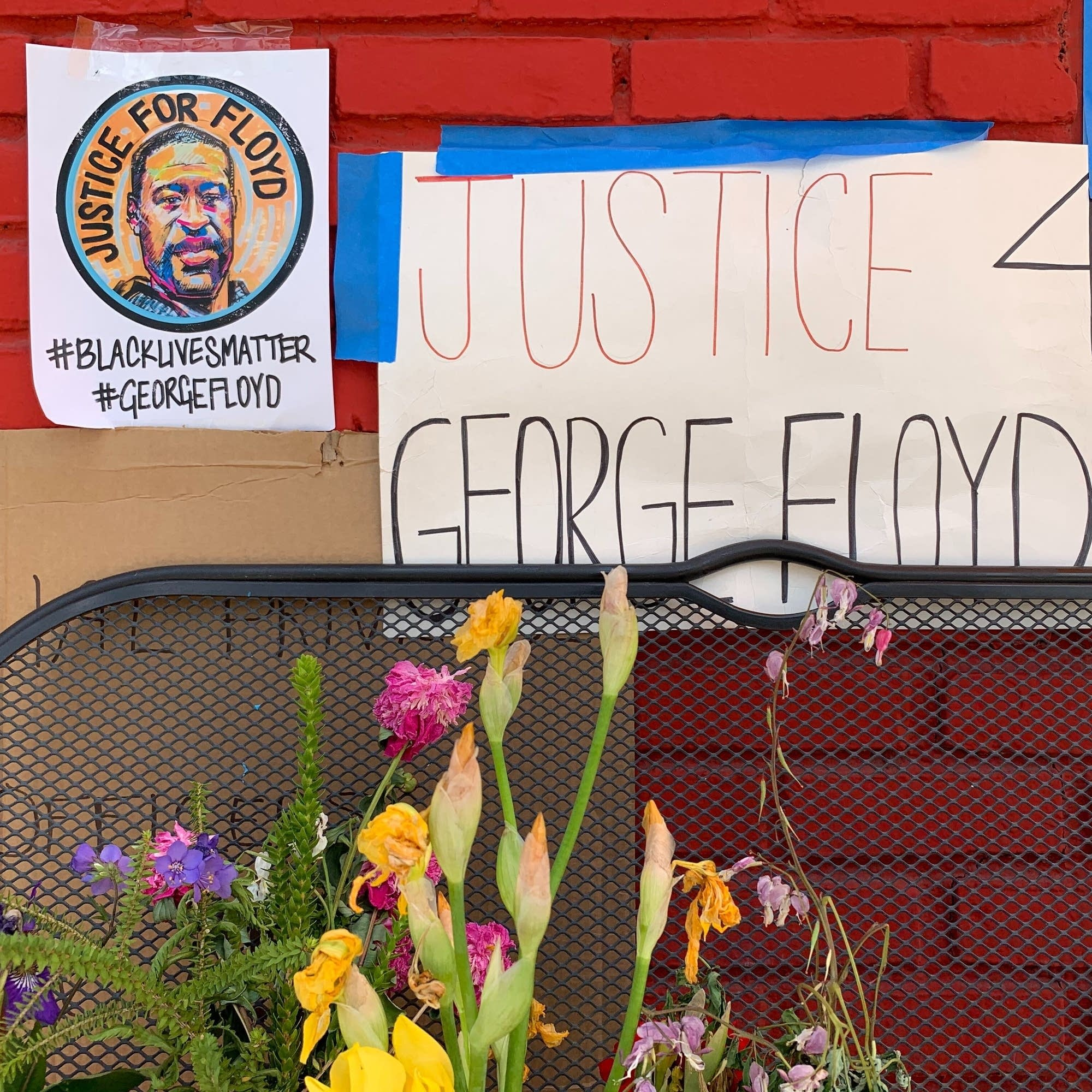 George Floyd memorial outside Conga Latin Bistro.