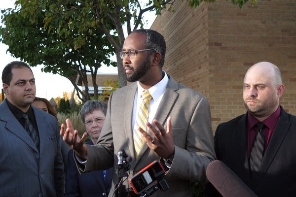 Jaylani Hussein spoke to reporters.