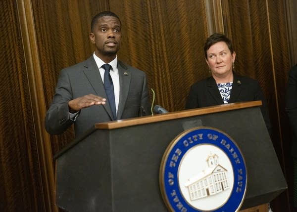 St. Paul Mayor Melvin Carter speaks during a press conference.