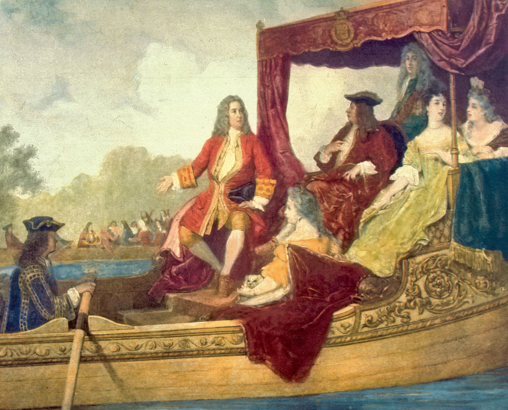 Handel and King George I on a barge on the River Thames