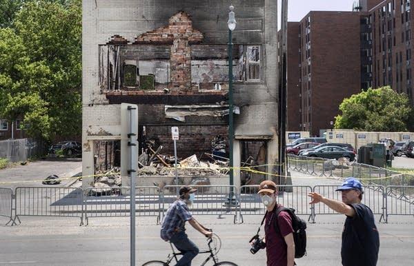 Building being demolished.