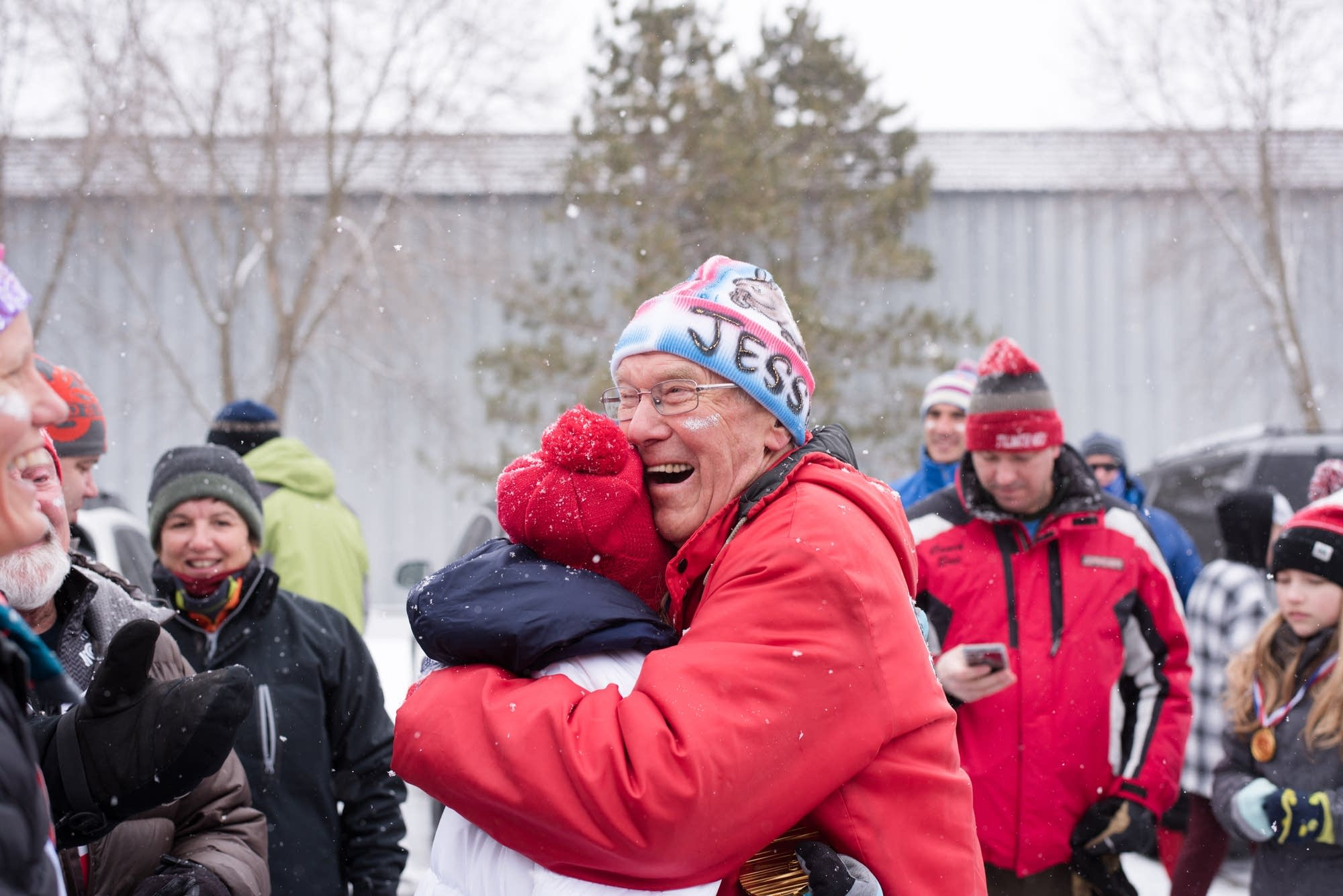 Jessie Diggins and Bob Hagstrom share an emotional moment.