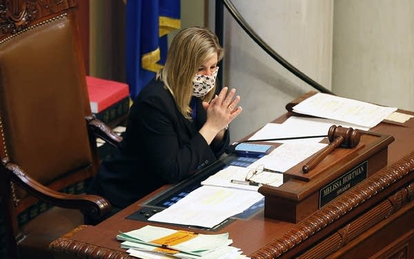 Minnesota House Speaker Melissa Hortman wears a face mask