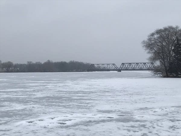 The frozen Mississippi River in Little Falls in December 2018.