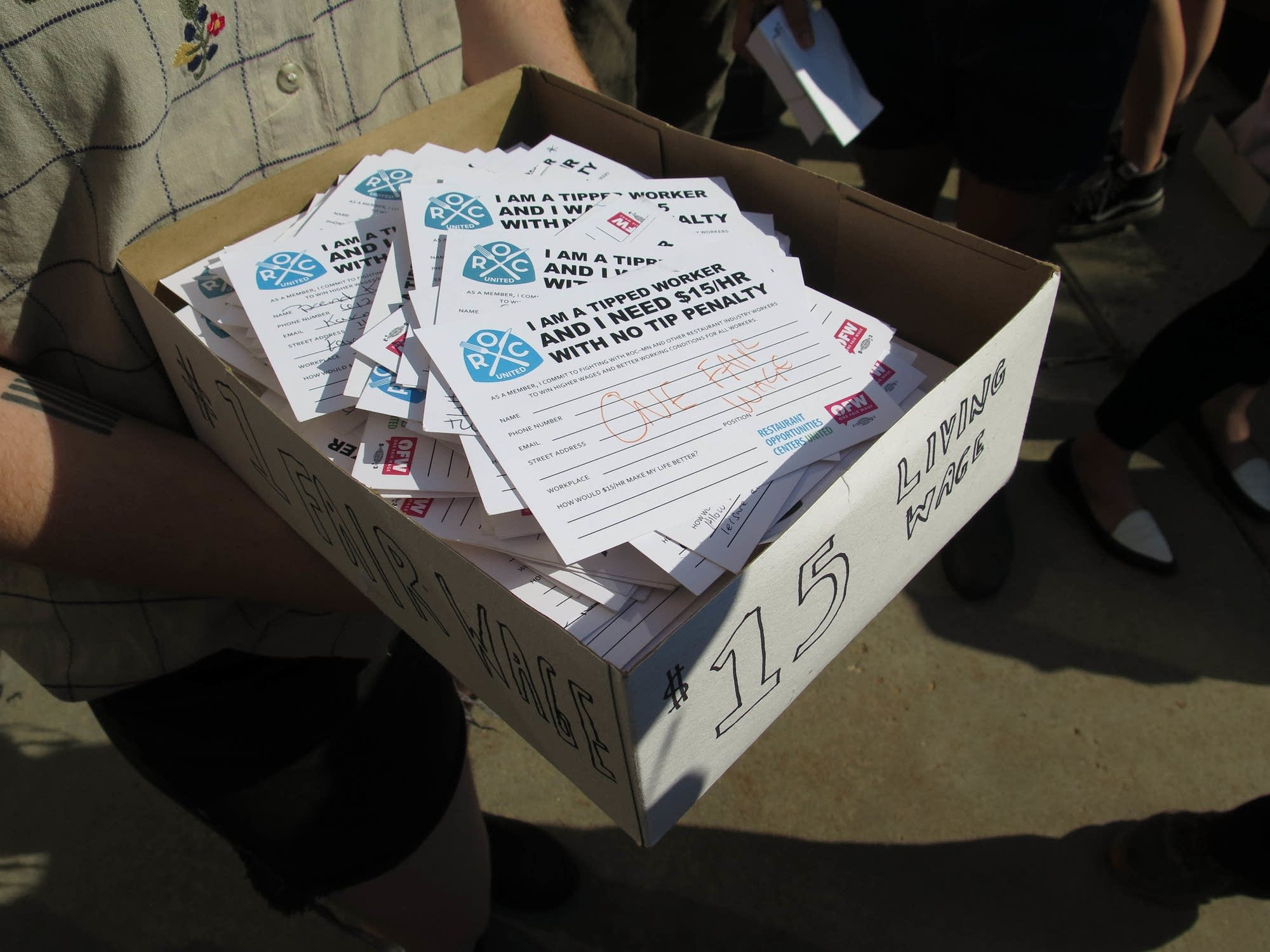 A box full of postcards to hand over to city officials.