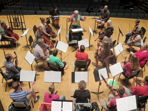 The Lake Superior Chamber Orchestra rehearses 'It Rained on Shakopee.'