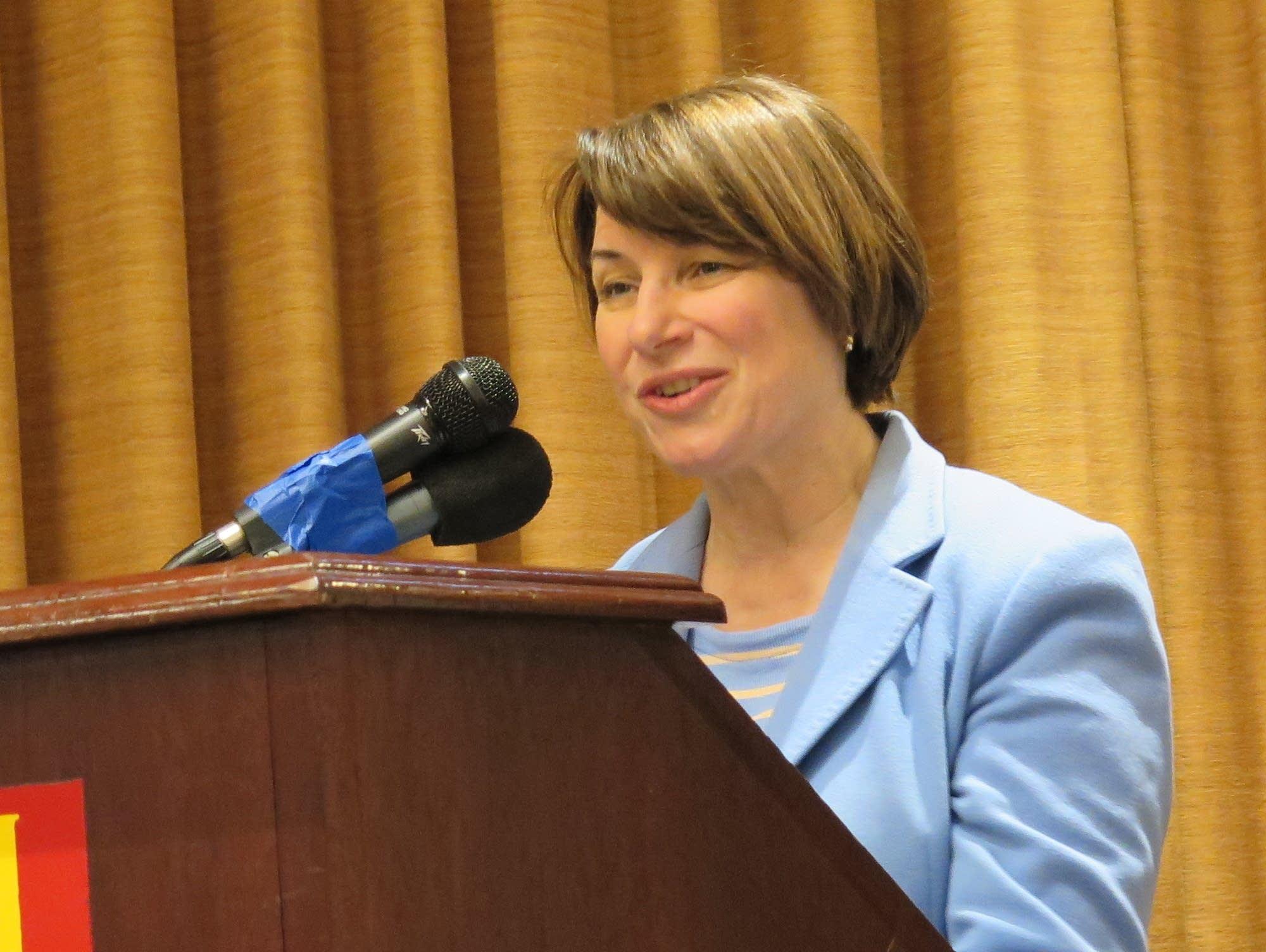 Amy Klobuchar speaks to Iowa Farmers Union