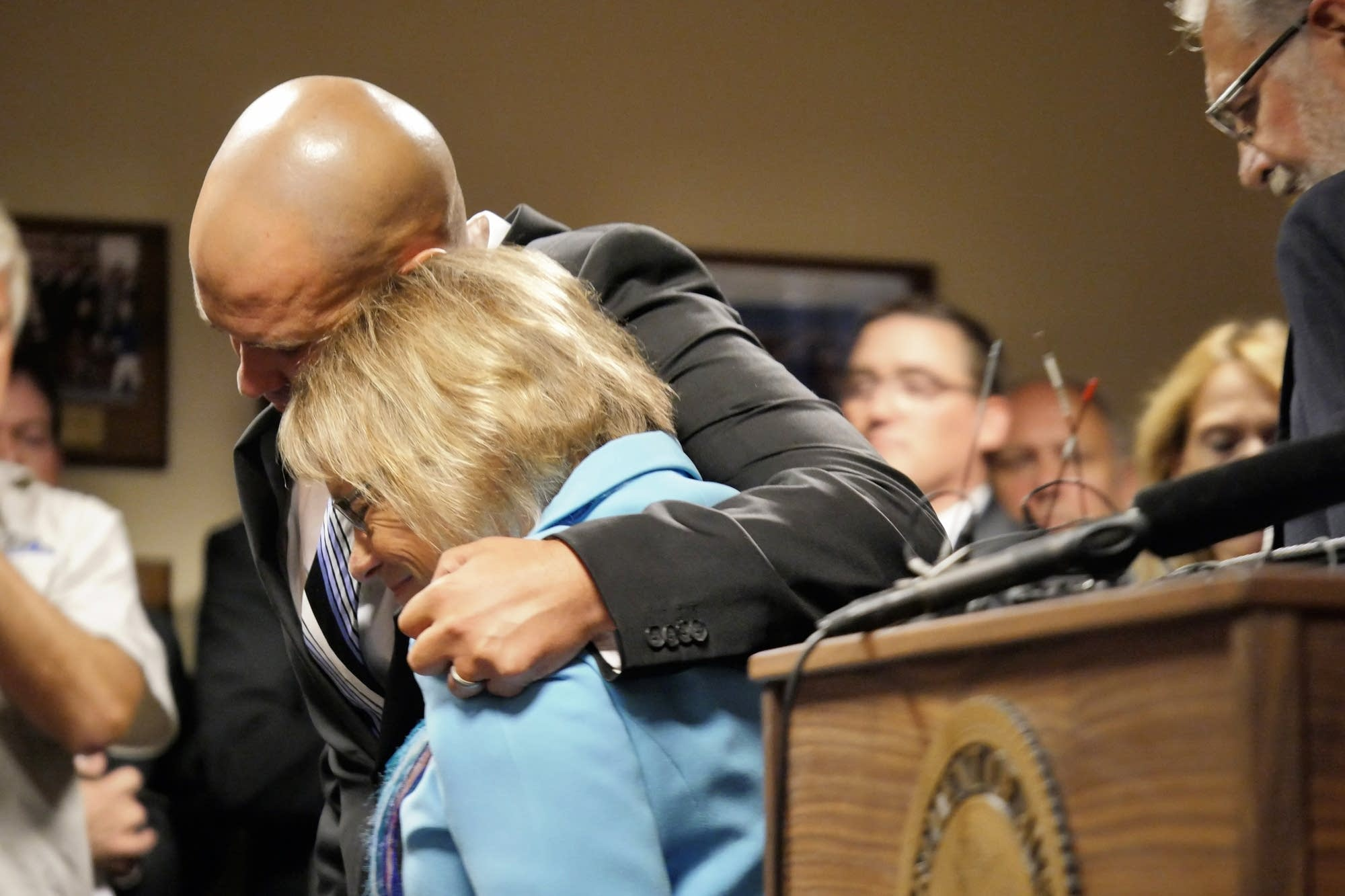 Trevor Wetterling hugs his mother.