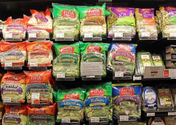 Romaine lettuce for sale at a St. Paul grocer.
