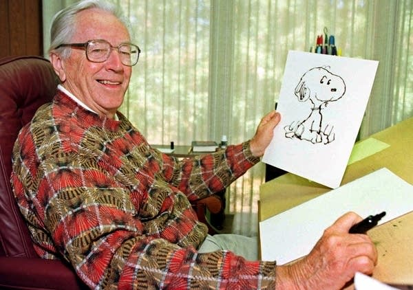 Charles Schulz in his office.