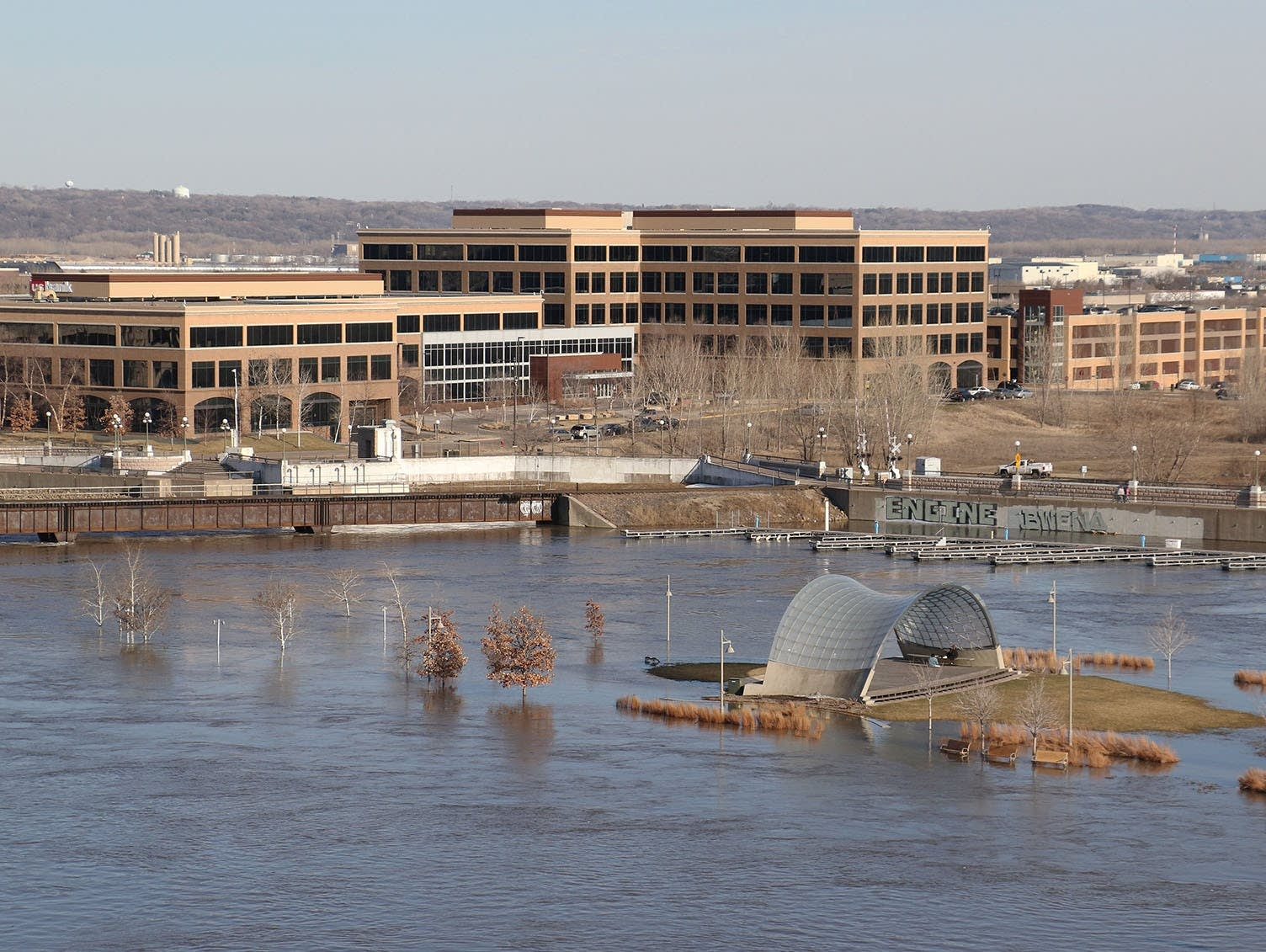 Much of Raspberry Island is inundated by Mississippi River floodwaters