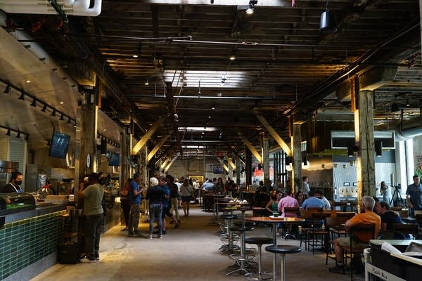 The interior of Market at Malcolm Yards, a food hall.