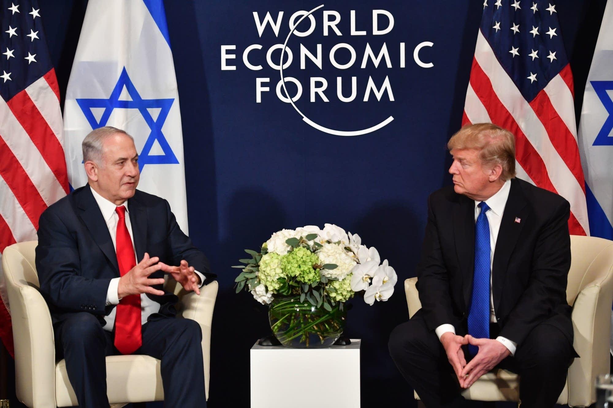 President Trump speaks with Israel Prime Minister Benjamin Netanyahu.