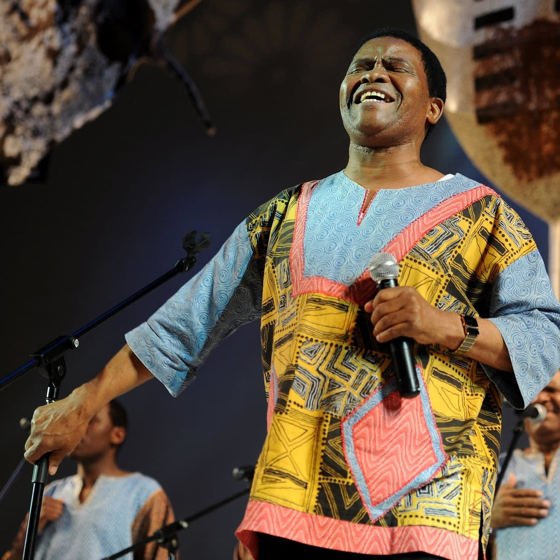 Joseph Shabala leads Ladysmith Black Mambazo in performance
