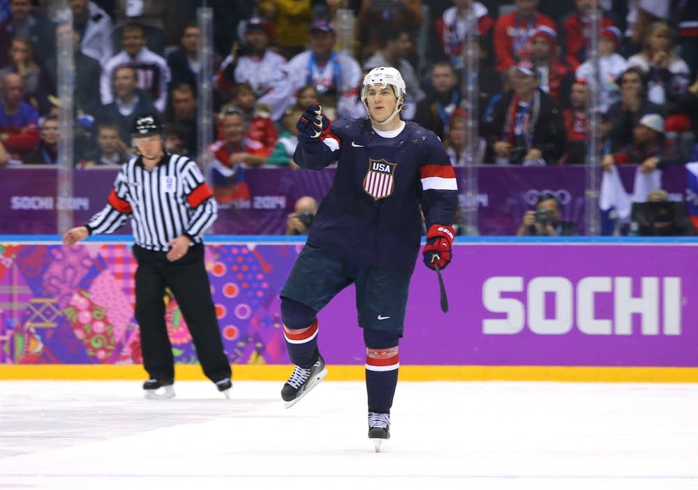 T.J. Oshie #74 of the United States