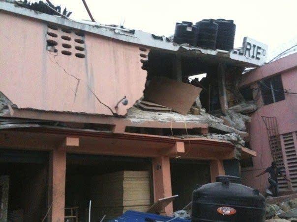 Damaged buildings in Haiti