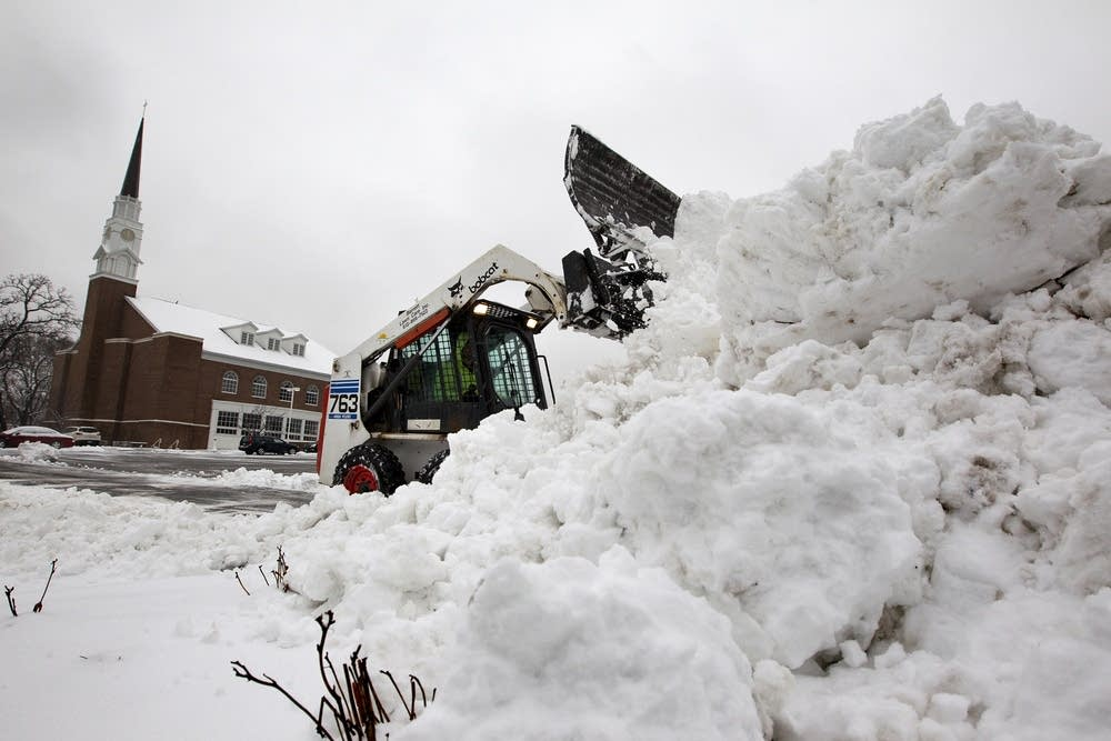 Clearing snow in Edina.