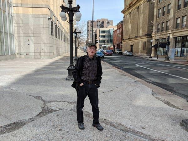 Jerry Mathiason stands on St. Peter Street.