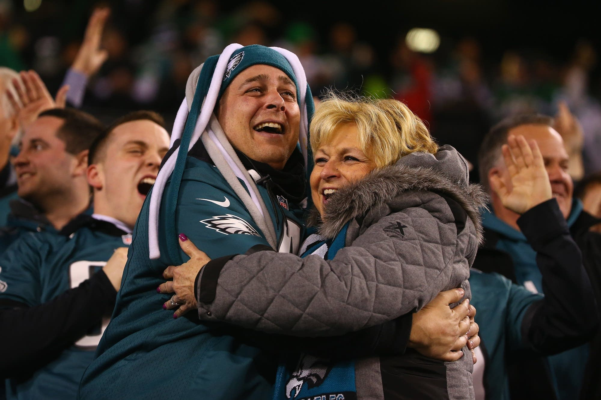 Eagles fans celebrate during the second quarter.