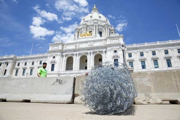 a roll of chain fence at the Minnesota State Capitol
